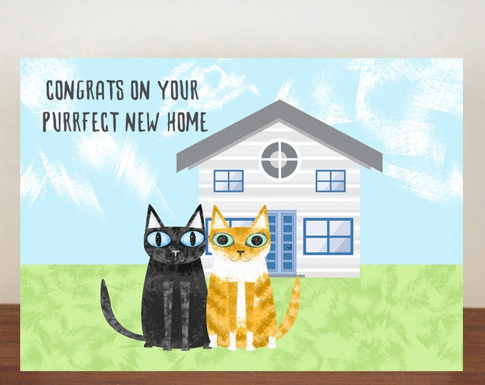 Congrats On Your Purrfect New Home Card, Congratulations Card, Animal Card, Cat Card, New House Card
