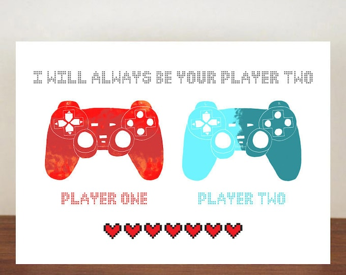 I will always be your player two anniversary card, anniversary card, cards, greeting cards, love, valentines card, love card, gamer card