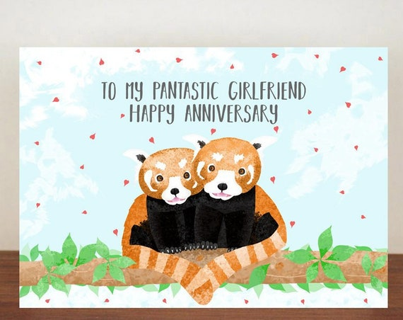 To My Pantastic Girlfriend/Boyfriend Happy Anniversary, Valentines Card, Greeting Cards, Panda Card, Love Card, Anniversary Card, Red Panda