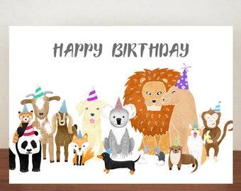 Happy Birthday Card Greeting Animals Animal