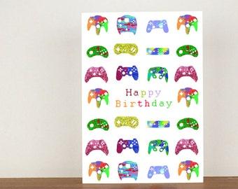gamer happy birthday card gamer cards modern design greeting cards boys birthday card mens birthday card birthday card