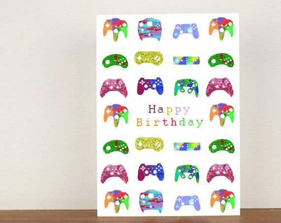 Gamer Happy Birthday card, Gamer cards, modern design, greeting cards, boys birthday card, mens birthday card, birthday card