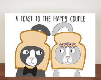 A Toast To The Happy Couple Card, Card, Greeting Cards, Love, Cat Card, Love Card, Cats, Cat Love Card, Wedding Card, Congratulations