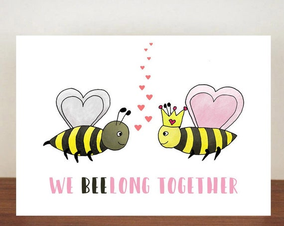 We Beelong Together Anniversary Card, Greeting Cards, Love, Valentines Card, Bee Card, Happy Valentines Day, Love Card, Anniversary