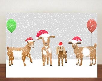 Goat Christmas Card,  Christmas Card, Greeting Cards, Christmas Card, Goat Card, Happy Christmas, Animal Christmas Cards