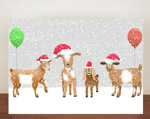 Goat Christmas Card,  Christmas Card, Greeting Cards, Christmas Card, Goat Card, Happy Christmas, Animal Christmas Cards