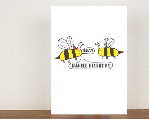 Hapbee Birthday, Card, Greeting Card, Birthday Card, Bee Card, Bee Birthday Card, Birthday, Friend Birthday Card