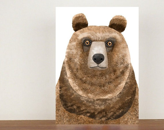 Grizzly Bear Greeting Card, Card, Greeting Card, Birthday Card, Bear Card, Bear Birthday Card, Thank You Card