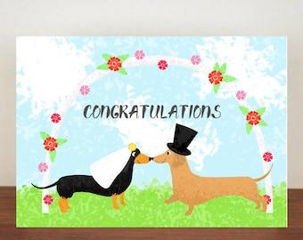 Congratulations, Dachshund Wedding Card, Wedding Card, Dachshund Card, Greeting Card, Congratulations Card