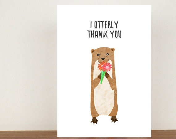 I Otterly Thank You Card, Thank You Card, Animal Card, Thanks Card, Otter Card, Greeting Card