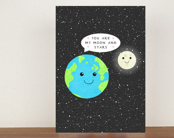 You Are My Moon And Stars, Card,  Anniversary Card, Greeting Card, Space Card, Valentines Day Card, Anniversary Card, Cute Love Card