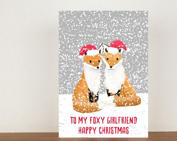 To My Foxy Girlfriend/Boyfriend Happy Christmas Card, Greeting Cards, Love, Christmas Card, Fox Card, Animal Christmas Cards
