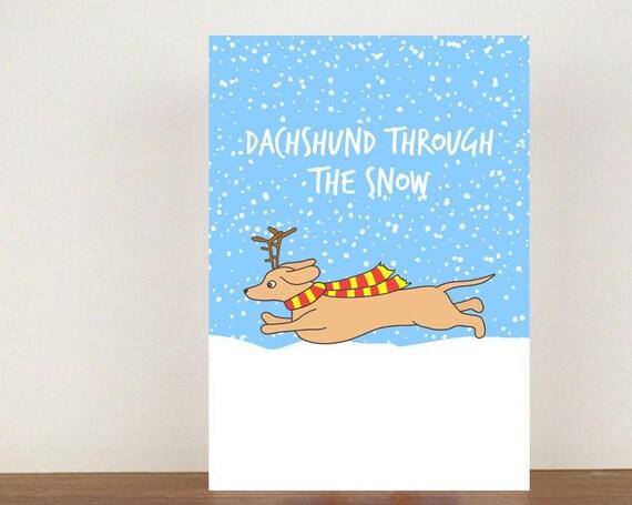 Dachshund Through The Snow Christmas Card, Christmas Cards, Christmas card, Dog, Dog Card, Dachshund, Dachshund Card, Animal Christmas Cards