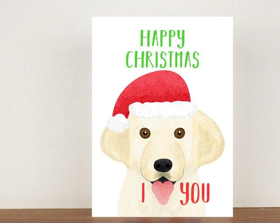 Happy Christmas I Heart You Card, Greeting Cards, Christmas Card, Labrador Card, Happy Christmas, Love Card, Animal Christmas Cards
