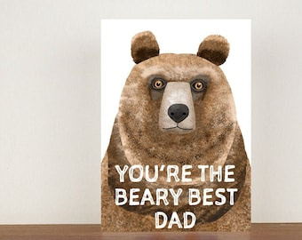 You're The Beary Best Dad Card, Greeting Card, Animal Card, Fathers Day Card, Fathers Day, Bear, Bear Card