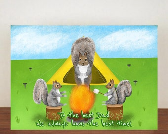 To The Best Dad We Always Have The Best Time Card, Greeting Card, Animal Card, Fathers Day Card, Fathers Day, Squirrel, Squirrel Card