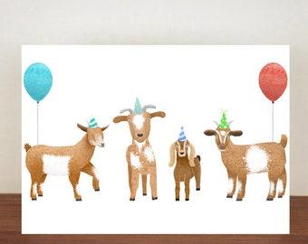 Goat Birthday Card, Card, Greeting Card, Birthday Card, Goat Card, Goat Birthday Card, Birthday