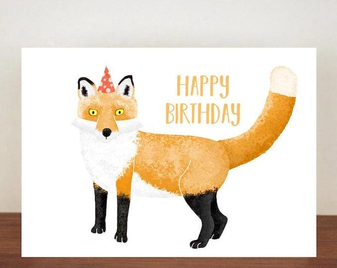 Happy Birthday Fox Card, Card, Greeting Card, Birthday Card, Fox Card, Fox Birthday Card, Birthday