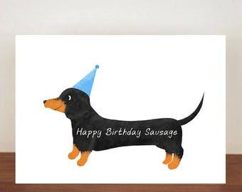 Happy Birthday Sausage Card Greeting Dog Dachshund