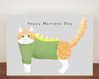 Cat Happy Mothers Day Card, Mothers Day Card, Animal card, Cat Card