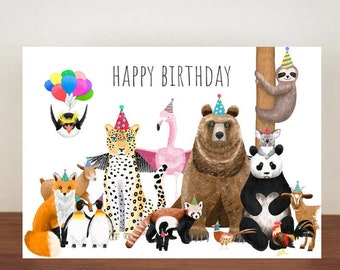 Animal Happy Birthday Card, Card, Greeting Card, Birthday Card, Animals, Animal Birthday Card, Penguin, Fox, Sloth, Flamingo, Panda, Skunk