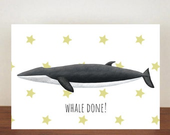 Whale Done Fin Whale Card, Congratulations, Whale, Whale Card, Animal Card, Well Done Card, New Job Card, Achievement Card, Qualified