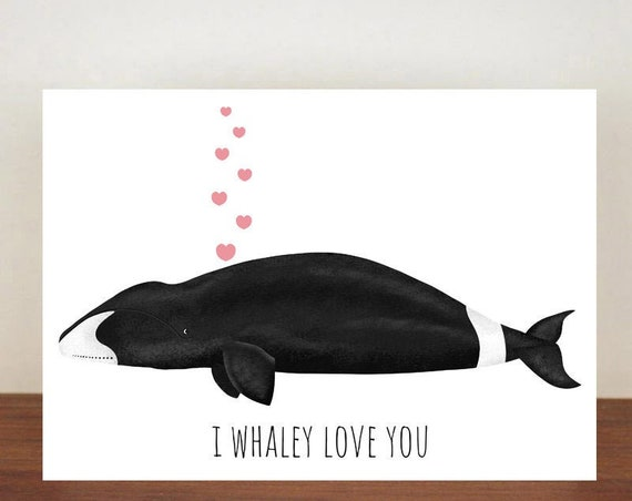 Bowhead Whale, I Whaley Love You Anniversary Card, Love, Valentines Card, Whale Card, Happy Valentines Day, Love Card, Anniversary