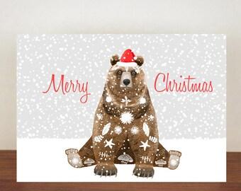 Merry Christmas Bear Christmas Card, Greeting Cards, Christmas Card, Bear Card, Bear, Bear Christmas Cards, Animal Christmas Cards