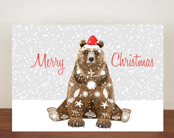 Merry Christmas Bear Christmas Card, Greeting Cards, Christmas Card, Bear Card, Bear, Bear Christmas Cards, Animal Christmas Cards