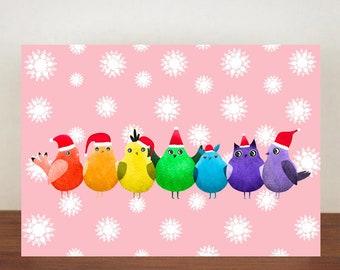 Rainbow Birds Christmas Card, Bird cards, Greeting Cards, Christmas card, Birds, Animal Christmas Cards