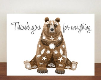 Bear Thank You Card, Thank You Card, Animal Card, Thanks Card, Greeting Card, Thinking Of You, You're The Best, Grizzly Bear, Bear