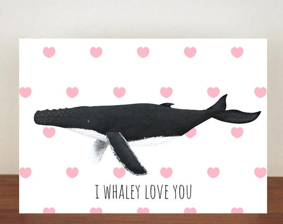 I Whaley Love You Anniversary Card, Humpback Whale, Hearts, Love, Valentines Card, Whale Card, Happy Valentines Day, Love Card, Anniversary