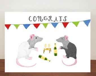 Congrats, Congratulations, Rat Card, Animal Card, Well Done Card, New Job Card, Achievement Card, Qualified, Rat Card