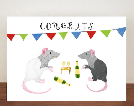 Congrats, Congratulations, Rat Card, Animal Card, Well Done Card, New Job Card, Achievement Card, Qualified, Rat Card