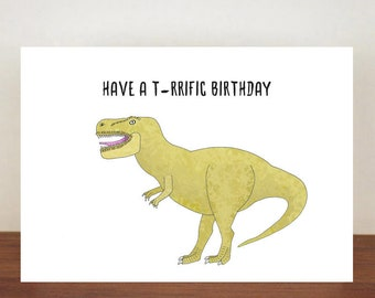 Have A T Rrific Birthday Card Greeting Rex Dinosaur