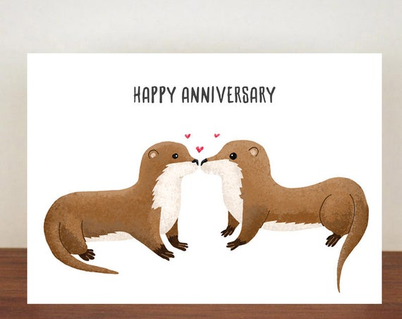 Happy Anniversary Card, Greeting Cards, Love, Valentines Card, Otter Card, Happy Valentines Day, Love Card, Anniversary