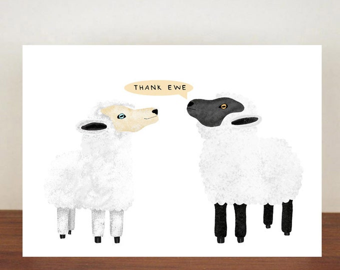 Thank Ewe, Thank You Card, Animal Card, Thanks Card, Sheep Card, A6 in size (approx 105 x 148mm), Includes Envelope
