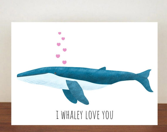 Blue Whale, I Whaley Love You Anniversary Card, Love, Valentines Card, Whale Card, Happy Valentines Day, Love Card, Anniversary