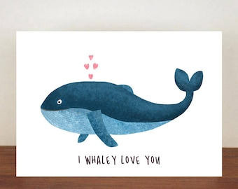 I Whaley Love You Anniversary Card, Greeting Cards, Love, Valentines Card, Whale Card, Happy Valentines Day, Love Card, Anniversary