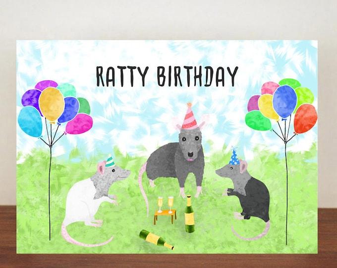 Ratty Birthday Rat Card, Card, Greeting Card, Birthday Card, Rat Card, Rat Birthday Card