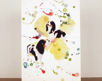 Dog Greetings Card, Mothers Day Card, Thank You Card, Cavalier King Charles Spaniel Card