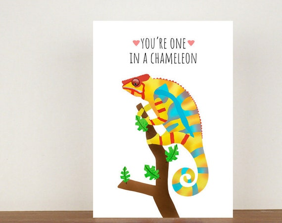 You're One In A Chameleon Anniversary Card, Greeting Cards, Love, Valentines Card, Happy Valentines Day, Love Card, Anniversary, Chameleon