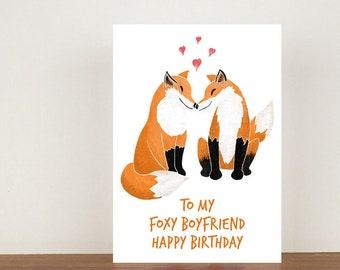 To My Foxy Girlfriend/Boyfriend Happy Birthday, Card, Greeting Card, Birthday Card, Fox Card, Fox Birthday Card, Girlfriend Card