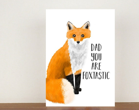Dad You Are Foxtastic Card, Greeting Card, Animal Card, Fathers Day Card, Fathers Day, Fox, Fox Card
