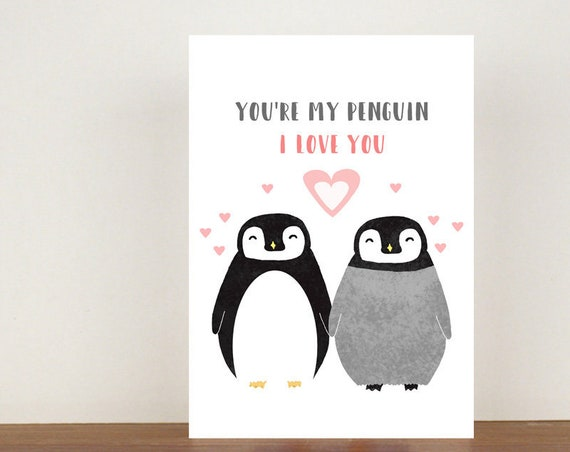 You're My Penguin Anniversary Card, Greeting Cards, Love, Valentines Card, Penguin Card, Happy Valentines Day, Love Card, Anniversary