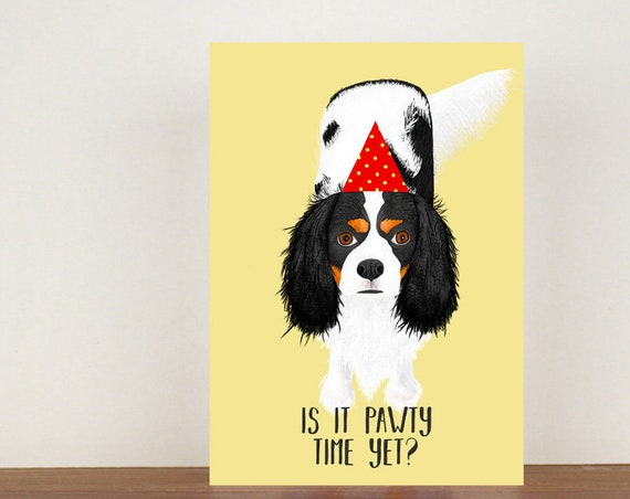 Is It Pawty Time Yet, Card, Greeting Card, Birthday Card, Dog Card, Dog Birthday Card, Friend Birthday Card, Cavalier King Charles Spaniel