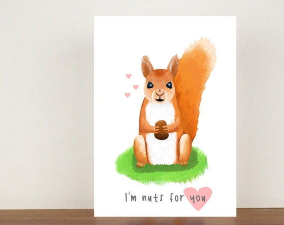 I'm Nuts For You Anniversary Card, Greeting Cards, Love, Valentines Card, Squirrel Card, Happy Valentines Day, Love Card, Anniversary