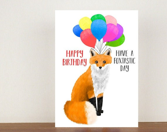 Happy Birthday Have A Foxtastic Day Card, Card, Greeting Card, Birthday Card, Fox Card, Fox Birthday Card, Birthday