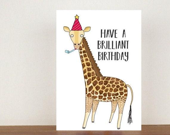 Have A Brilliant Birthday, Birthday Card, Card, Greeting Card, Giraffe, Giraffe Birthday Card