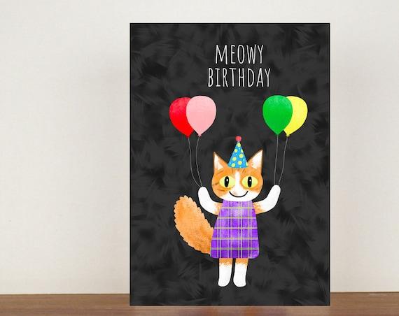 Meowy Birthday Card, Birthday Card, Greeting Card, Friend Card, Cat, Cat Card, Pun Card, Animal Pun Birthday Card, Cat Lover Card